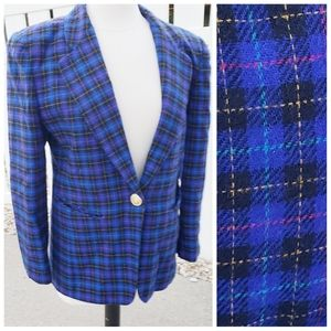 VTG wool Norton McNaughton blue red plaid Blazer